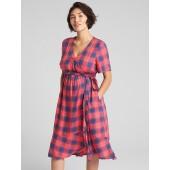Maternity Plaid Midi Wrap Dress