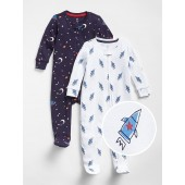 First Favorite Space Footed One-Piece (2-Pack)