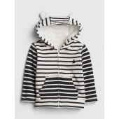 Cozy Stripe Bear Hoodie Sweatshirt