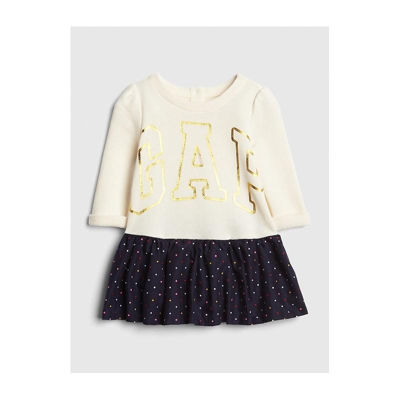 Foil Logo Mix-Fabric Dress