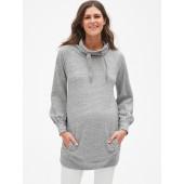 Maternity Funnel-Neck Pullover Tunic Sweatshirt