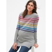 Maternity Crazy Stripe Crewneck Pullover Sweater Tunic