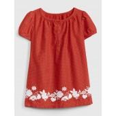 Embroidered Floral Dot Dress
