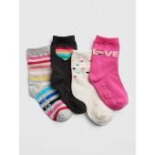 Rainbow Print Crew Socks (4-Pack)