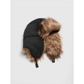 Faux-Fur Trim Trapper Hat