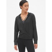 GapFit Wrap-Front Pullover Hoodie in Brushed Tech Jersey