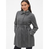 Maternity Tie-Belt Coat in Wool-Blend