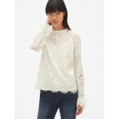 Floral Lace Tie-Sleeve Top