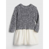 Marled Sweater Mix-Fabric Dress
