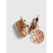 Glitter Sherpa Ankle Boots