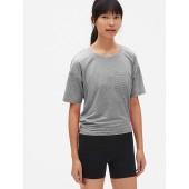 GapFit Breathe Short Sleeve Stripe Open-Back T-Shirt
