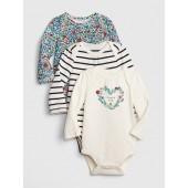 Floral Stripe Long Sleeve Bodysuit (3-Pack)