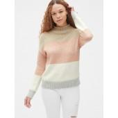 Stripe Mockneck Pullover Sweater in Wool-Blend