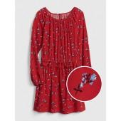 Print Ruffle Cinched-Waist Dress