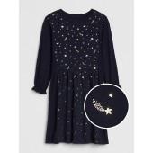 Foil Space Cinched-Waist Dress