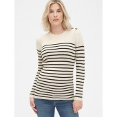 Maternity Stripe Button-Shoulder Pullover Sweater