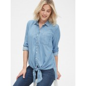Maternity Tie-Front Shirt in TENCEL&#153