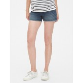 Maternity Full Panel Denim Shorts with Raw Hem
