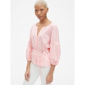 Balloon Sleeve Stripe Button-Down Blouse in Poplin