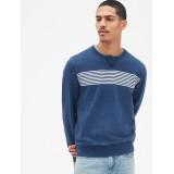 Indigo Chest-Stripe Crewneck Pullover Sweatshirt in French Terry