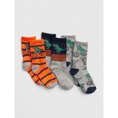 Dino Stripe Crew Socks (3-Pack)