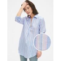 Boyfriend Stripe Popover Tunic in Linen