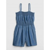 Smocked Denim Romper