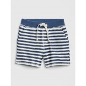 Stripe Pull-On Shorts in Stretch Jersey