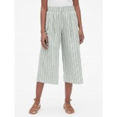 High Rise Stripe Wide-Leg Crop Pants in Linen-Cotton