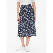 Print Button-Front Midi Skirt