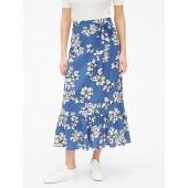 Ruffle Hem Midi Skirt