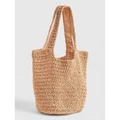 Woven Straw Shopper Tote Bag