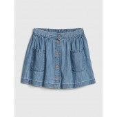 Flippy Button-Front Denim Skirt