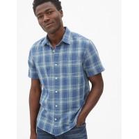 Linen-Cotton Short Sleeve Shirt