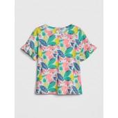 Print Ruffle T-Shirt