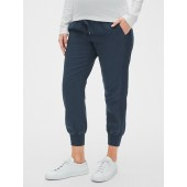 Maternity Full Panel Rib Mix Joggers in Linen-Cotton