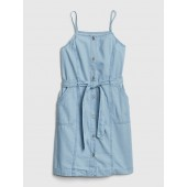 Button-Front Denim Dress