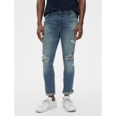 Distressed Straight High Roller Jeans with GapFlex