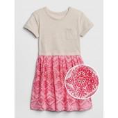 Mix-Fabric T-Shirt Dress