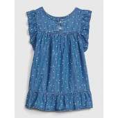 Star Ruffle Denim Dress