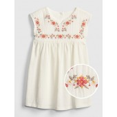 Embroidered Mix-Fabric Dress