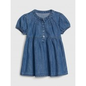 Baby Denim Puff-Sleeve Shirtdress