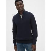 Waffle Stitch Quarter-Zip Mockneck Sweater