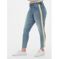 High Rise Side-Stripe True Skinny Ankle Jeans