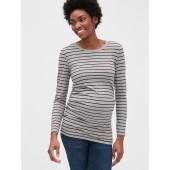 Maternity Pure Body Stripe Long Sleeve Crewneck T-Shirt