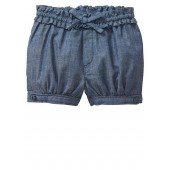 Chambray ruffle bubble shorts