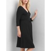 Maternity solid three-quarter sleeve wrap dress