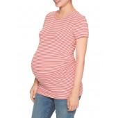 Maternity Pure Body Stripe Short Sleeve Crewneck T-Shirt