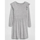 Ruffle Long Sleeve Dress in Stretch Jersey