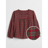 Plaid Button Balloon-Sleeve Top